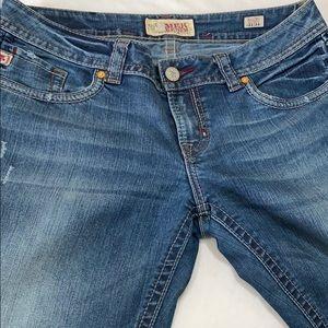 MEK DENIM Malibu slim boot cut jeans distressed